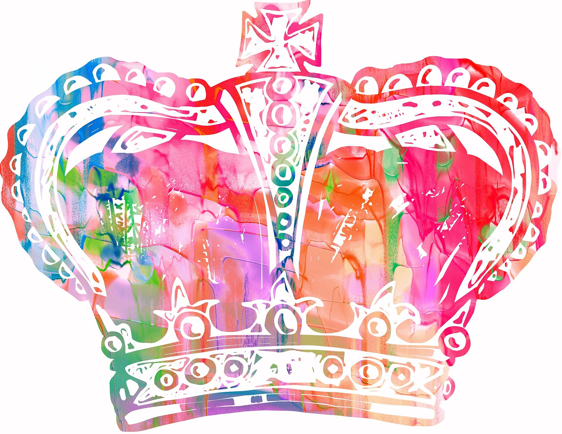Queen's crown in bright red, blue, purple and green